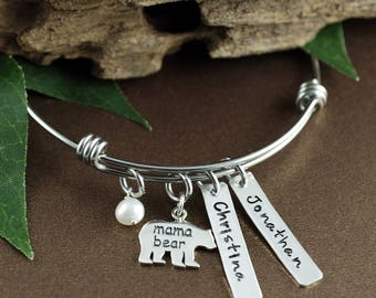 Hand Stamped Mom Bracelet, Mama Bear Name Bracelet, Bear Jewelry, Mother Daughter Bracelets, Gift for Mom, Mothers Day  Gift, Kids Names