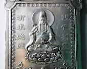 Tibetan Miao Silver Quan Yin Goddess of Mercy Buddhist Thangka Kirin Dragon Talisman Feng Shui Amulet