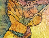 GYPSY DANCE Painting ZEN Inspired Watercolor on Tissue Art Bohemian Goddess Gaia Portrait Lynne French