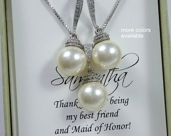 Maid of Honor Gift, Swarovski Necklace and Earrings, Ivory Pearl Jewelry Set, Bridal Party Gift, Bridesmaid Jewelry Set, Wedding Jewelry Set