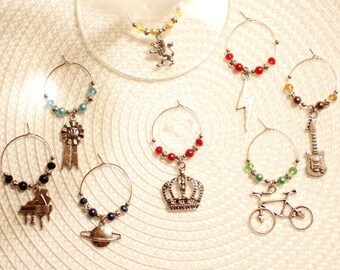 Queen inspired wine glass charms, music, band, champions, Freddie Mercury, Brian May, guitar, piano, David Bowie, Highlander, concert