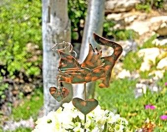 Cat Angel Pet Memorial Garden Stake / Outdoor Metal Garden Art / Copper Art / Metal Garden Animal Sculpture / Cat Metal Memorial Sign