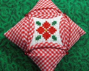 Cathedral Window Quilted and Cross Stiched Christmas Ornament 401