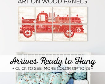 Browse our Vintage Fire Truck Room Decor - Perfect Wall Art for Little Boys Room - 6 Color Options and 2 Sizes