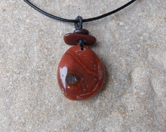 Carnelian, pebble pendant necklace - orange uncut raw gem stone - naturally sourced in Australia. one of a kind macrame jewelry