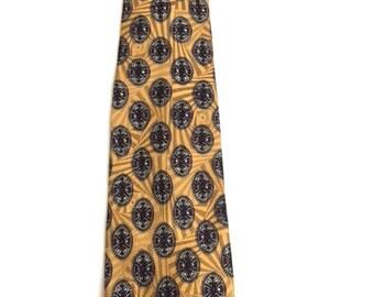 Vintage Mens MUSTARD GOLD And Black Tie / Robert Talbott Best of Class Nordstrom Necktie / Designer Silk Tie / 3.5 x 60