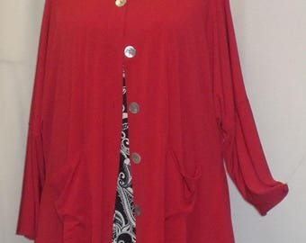 Coco and Juan,  Lagenlook,  Plus Size Top, Red, Jacket, Traveler Knit, Angled, Womens Jacket Top,  One Size Bust  to 60 inches