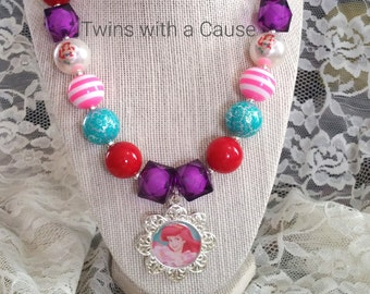 Girls Chunky Bead necklace, Accessories for girls, Toddler Princess necklace, Birthday necklace