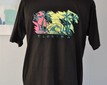 Vintage Puffy Tshirt Florida Neon Sunset Retro Shirt Black XL Beach Coverup