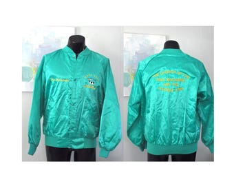 Amazing Satin Jacket Bright Turquoise Bomber Athletic USA Church of Holy Mackeral Sacred Cow Buck Harbor Maine 90s Blue Green Coat LARGE