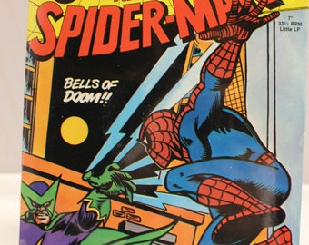 "Rare Sealed 1970's Power Records Peter Pan The Amazing SPIDER- MAN ""Bells of Doom""  7""  33 1/3 RPM Little Lp New"