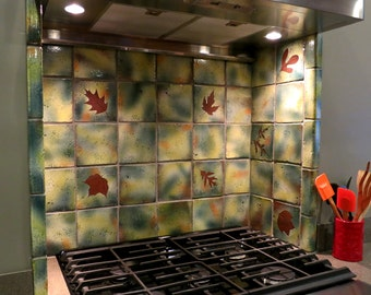 Six inch Accent backsplash tile or Coaster Tile ceramic in Green Leaf Glaze Your Choice of Real leaves and cuttings