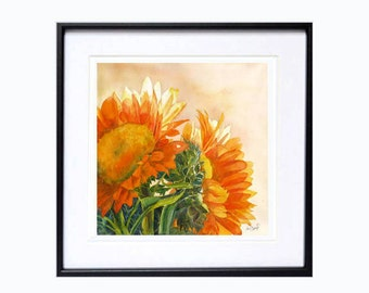 Wall art decor print Floral Flowers Sunflowers - Watercolor ByMuren A