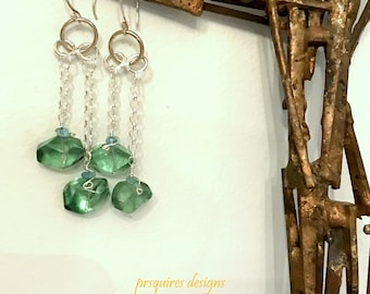 Crystal clear green fluorite and apatite wire wrapped on sterling silver chain earrings