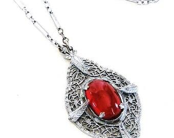 Edwardian Carnelian Glass Pendant Necklace