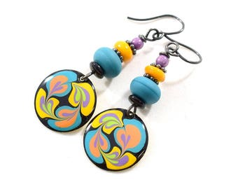 Blue and Yellow Swirl Round Boho Chic Earrings, Silver Earrings, Blue Earrings, Artisan Earrings, Blue Yellow Purple, Paint and Resin,AE095