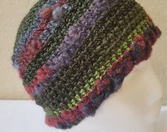 Crochet Striped Beanie / Hat / Cap / Greens And Purples With Green Shimmer/ Adult/ Womens Crochet Skull Cap/ Handmade Winter Accessories