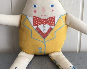 Humpty Dumpty Doll, handmade, handpainted, cute, perfect baby gift.