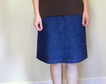 Fireside Organic Cotton Hemp Cotton Denim ALine Skirt  Made in the USA - Organic Cotton Clothing