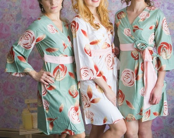 Grayed Jade Rosette Robes in a rumor among fairies Pattern in Premium Rayon