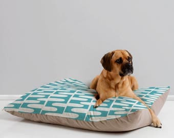Modern Geometric Dog Bed // Pet Bedding // Animal Pillow // Pet Cushion // Aqua Turquoise // Hopscotch Design // Dog Bed // Dog Pillow