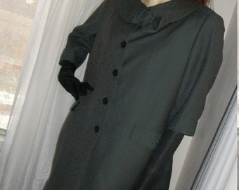 SALE Vintage 1930s 1940s Silk Jacquard Green Swing Coat Amazing As-Is Cond Size M/L