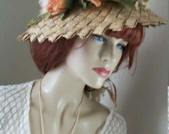 1950s Vintage Natural Straw Bucket Hat One Size Fits Most Lovely Apricot Silk Roses Field Co. Label