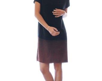 Black t shirt dress, hand dyed black dress, handmade dress