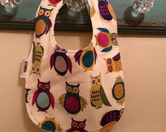 Jeweled Owls - Infant or Toddler Bib - Terry Cloth Backing - Reversible with ADJUSTABLE Snaps