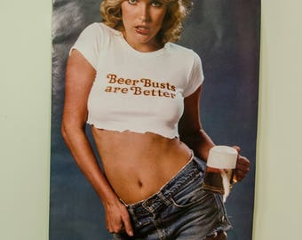 Vintage 1970's Beer Bust Man Cave Pin Up Poster