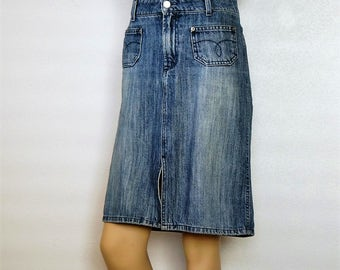 1990's Denim Skirt Vintage Faded Jean High Waisted Skirt Size 9