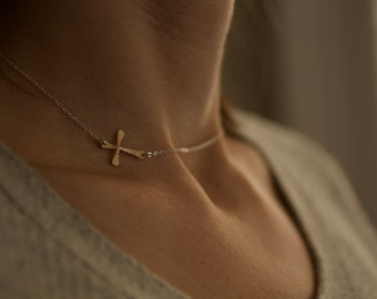 sideways cross necklace, mixed metals, silver and gold, two tone simple handmade, bridesmaid wedding, integrated cross, N172
