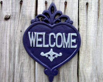 Welcome Plaque, Cast Iron, Purple, Gray, Welcome, Door Sign, Heart Plaque, House Sign, Ornate Welcome Plaque, Indoor, Outdoor