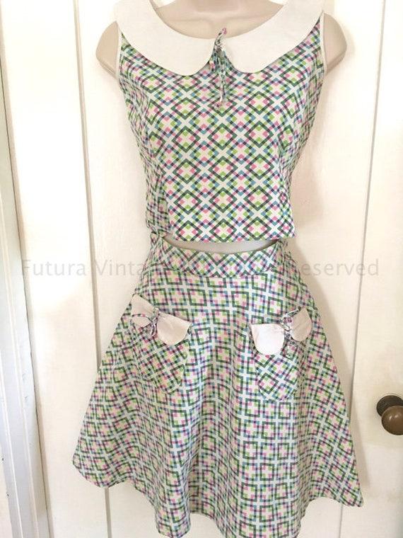 1940s JUDY KENT Girls Two Piece Matching Sleeveless Cotton Peter Pan Collar Top & A Line Skirt w/Pockets-Girls Size 10 or XXS womens