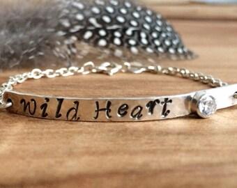 Inspirational Bar Bracelet - Sterling Silver - Personalized Jewelry - Inspirational bracelet for women - Wild Heart