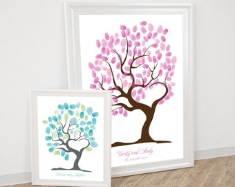 tree of love fingerprint guest book printable wedding thumbprint tree baby shower tree heart shaped tree love romantic guestbook alternative