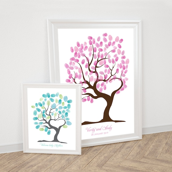 Pictures For Guests Fingerprints And Wishes: Tree Of Love Fingerprint Guest Book Printable Wedding
