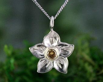 Champagne Diamond Solitaire Flower Pendant, Dogwood Flower, White and Yellow Gold, Handmade, Bridal Pendant