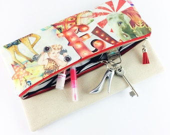 Red circus fold over clutch bag | Purse | Handbag | Gift for her | BFF