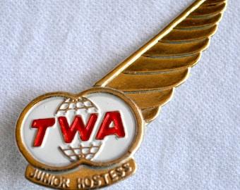 Vintage TWA Junior Hostess Wings Pin - Airlines Metal Pin Back