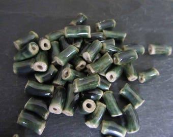 Shiny Green Glaze Beads Ceramic 'Glassy Copper Green Tube'  Beads Handmade Clay Pottery 548