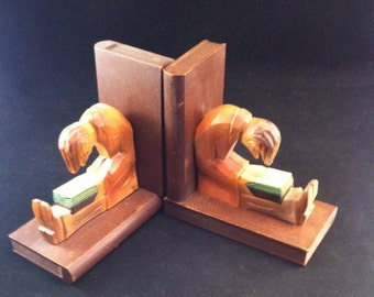 "Mid Century Hand Carved Folk Art Style Wooden Bookends""Man Sitting and Reading Book"", Bookends, Figural Bookends, **USA ONLY**"
