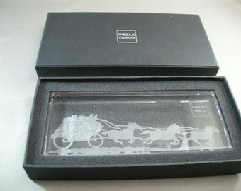 Wells Fargo Bank Crystal Glass Paperweight w/ Etched Stagecoach and Horses MIB, Wells Fargo Collectible Paper Weight, Paperweights, USA ONLY