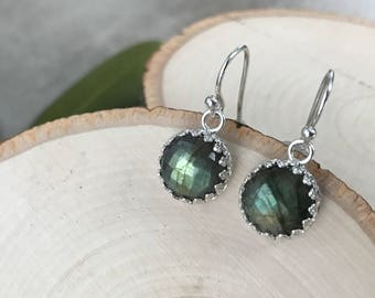 Small Labradorite Drop Earrings - Faceted Labradorite and Sterling Silver Dangle Earrings - Short Nickel Free Silver Earrings