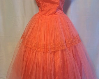 1950's Coral Tulle Party Prom Dress