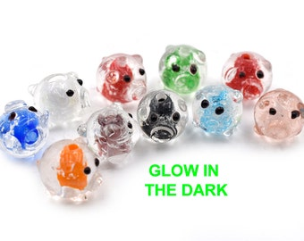 Glow in The Dark  Pig Beads, 10pcs,  12mm, Mixed   Color,  Luminous Beads -B587