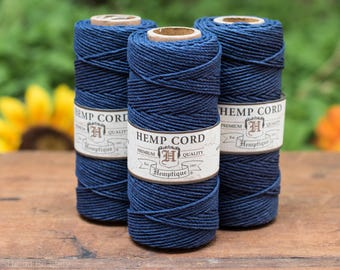Navy Hemp Cord,  1mm, 205 Feet,  Macrame Cord,    Hemp String, Hemp Cord, Hemptique -T16