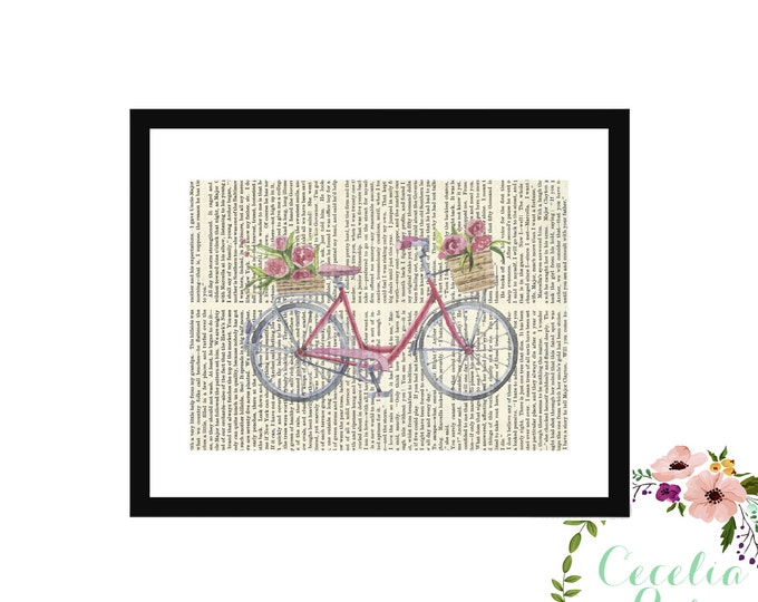 Vintage Bicycle Upcycled Book Art Box Frame Or Print Farmhouse Style