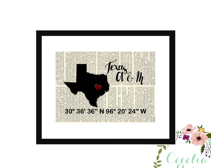 Texas A & M Custom Coordinates Vintage Book Page Art Box Frame or Print