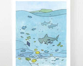 Ocean Animals Art Print - Hammerhead sharks, tropical fish, sting ray - Limited edition print